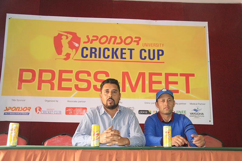 University Cricket Club Member Sudeep Sharma (left) speaks as President Suman Raj Karki looks on during a press meet of University Cricket Cup in Kathmandu on Monday, April 3, 2017. Photo: THt