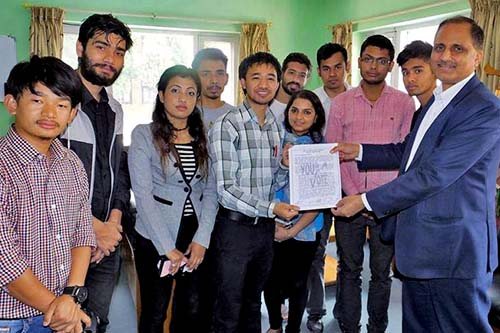 Youth campaigners representing various organisations submit a memorandum to Central Child Welfare Board (CCWB) Executive Director Tarak Dhital in Pulchok on Monday, April 3, 2017. Photo Courtesy: #YOUthVoteNepal