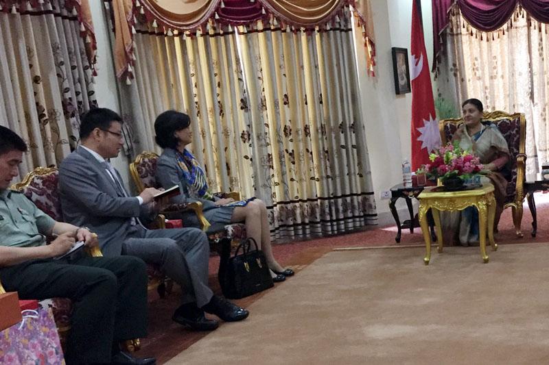 Chinese Ambassador to Nepal Yu Hong pays a courtesy call on President Bidya Devi Bhandari at the Sheetal Niwas in Kathmandu on Friday, April 07, 2017. Photo Courtesy: President's Office
