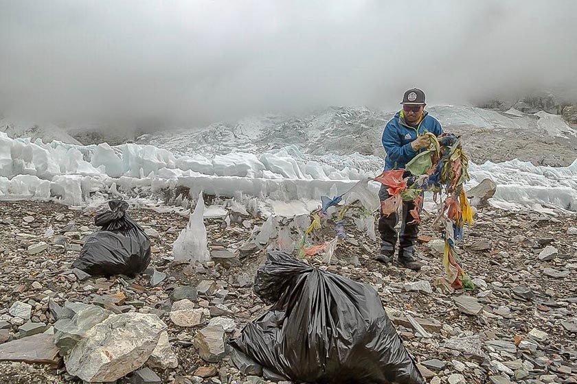 Trash being collected by Alpine Ascent International climber from lower icefall section on Mt Everest. Photo: Ben Jones