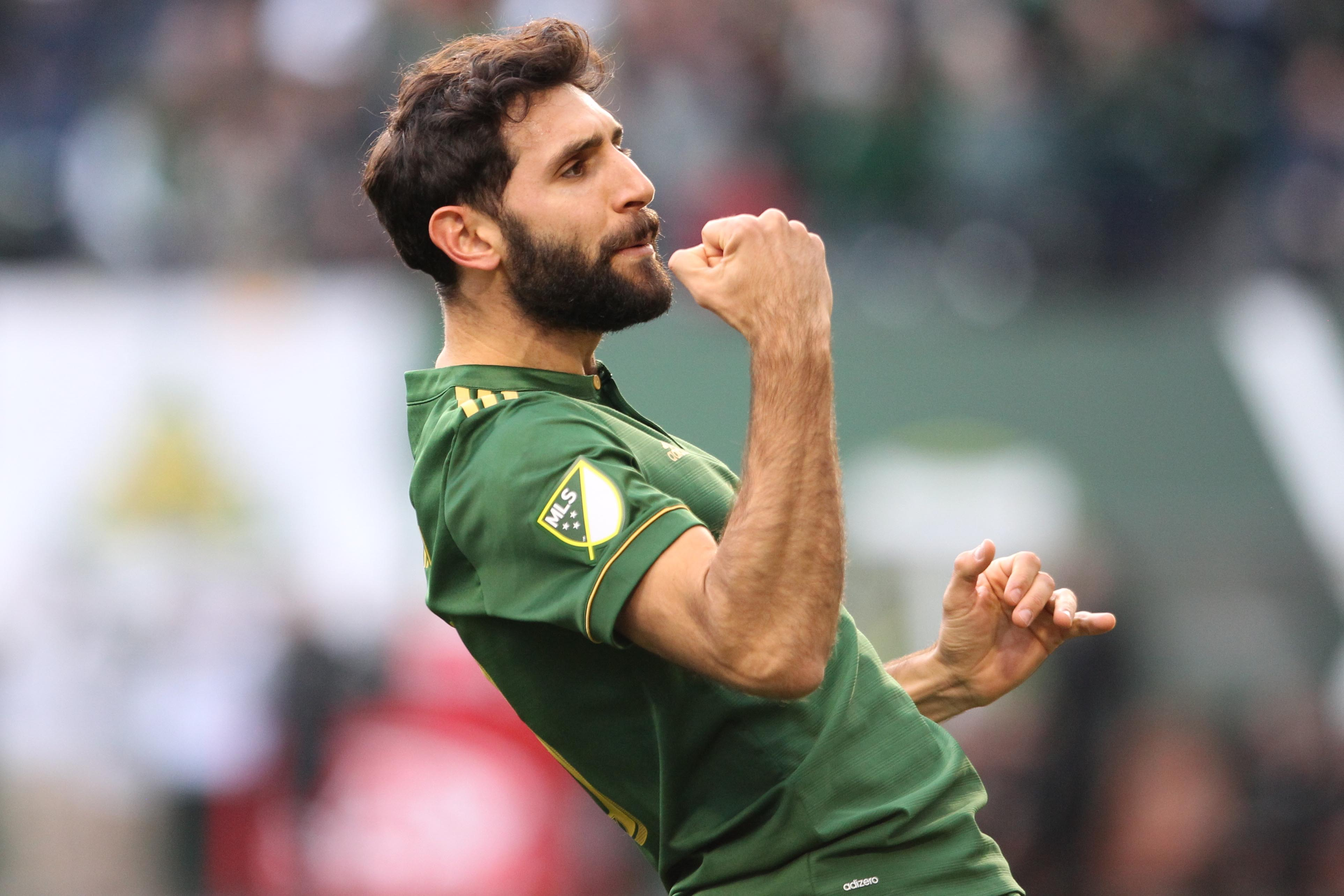 Portland Timbers' Diego Valeri celebrates after scoring a goal in the first half against the New England Revolution during an MLS soccer match at Providence Park in Portland, Oregon, on Sunday, April 2, 2017. Photo: The Oregonian via AP