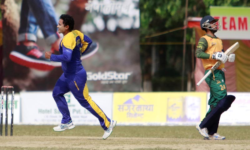 A player celebrates after dismissing a batsman during the on-going Dhangadhi Premier League, on Friday, April 14, 2017. Photo: Tekendra Deuba