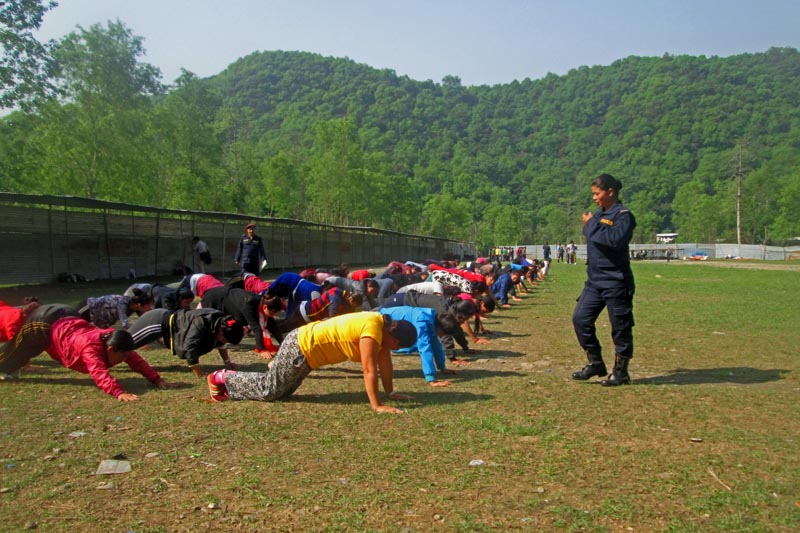 Recruits of temporary police force in the middle of training in Pokhara, on Tuesday, April 11, 2017. Photo: Rishiram Baral