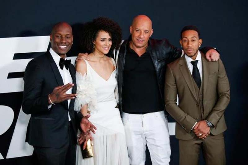 Actors Tyrese Gibson, Nathalie Emmanuell, Vin Diesel and Ludacris attend 'The Fate Of The Furious' New York premiere at Radio City Music Hall in New York, US, on April 8, 2017. Photo: Reuters