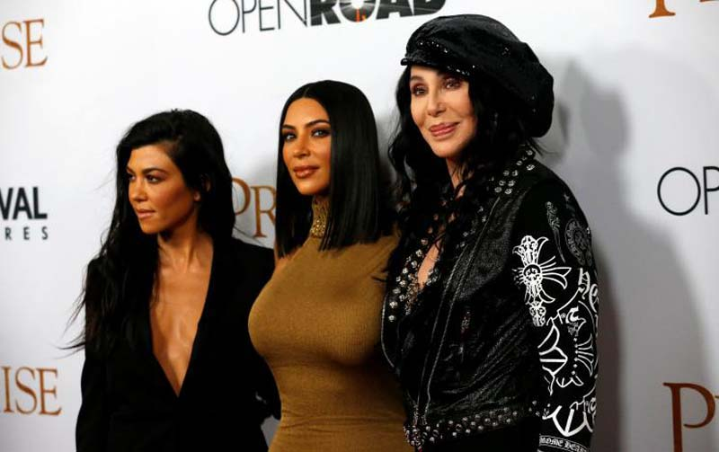 Singer Cher (right) poses with television personalities Kim Kardashian (centre) and Kourtney Kardashian at the premiere of 'The Promise' in Los Angeles, California, US, on April 12, 2017. Photo: Reuters