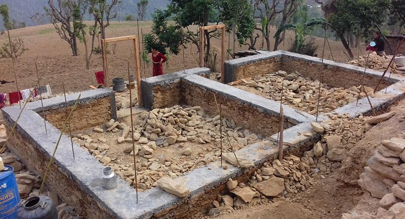 An under-construction house left unfinished in the earthquake-hit Irku VDC, Sindhupalchowk, on Thursday, April 20, 2017. Photo: THT