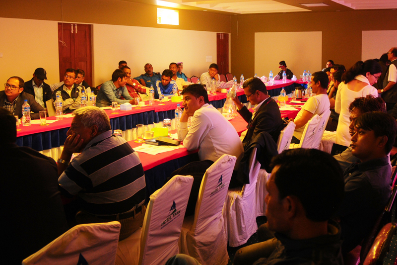 Participants of a value chain roundtable meeting on hygienic meat production and consumption, in Pokhara, on Sunday, April 9, 2017. Photo: PACT