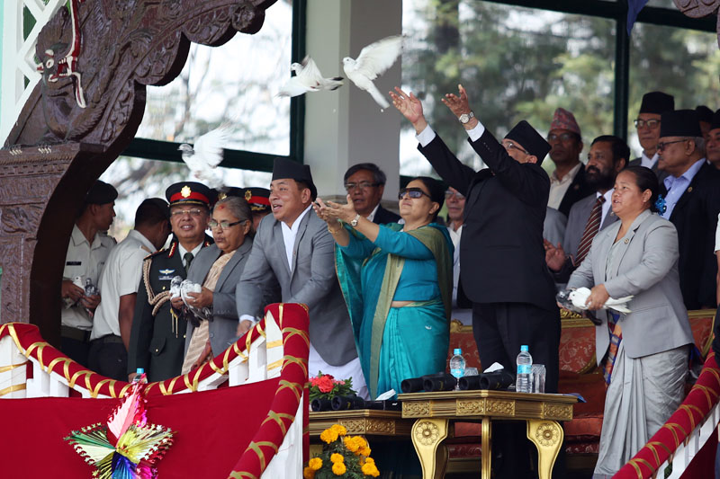 (From right) Speaker Onsari Gharti Magar, Prime Minister Pushpa Kamal Dahal, President Bidya Devi Bhandari, Vice President Nanda Bahadur Pun, Chief Justice Sushila Karki release pigeons during a function organised to mark the 10th Republic Day at the Army Pavilion, Tundikhel in Kathmandu on Monday, May 29, 2017. Photo: RSS