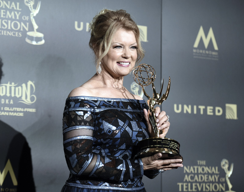Mary Hart, winner of the lifetime achievement award, poses in the press room at the 44th annual Daytime Emmy Awards at the Pasadena Civic Center, on Sunday, April 30, 2017, in Pasadena, California Photo: AP