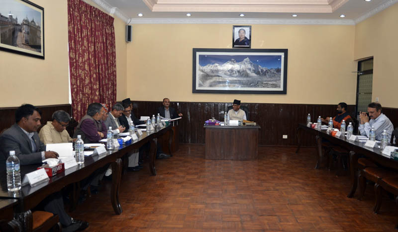 A meeting of Council of Ministers being held at the PM's official residence in Baluwatar, Kathmandu, on Friday, May 12, 2017. Courtesy: PM's Secretrait