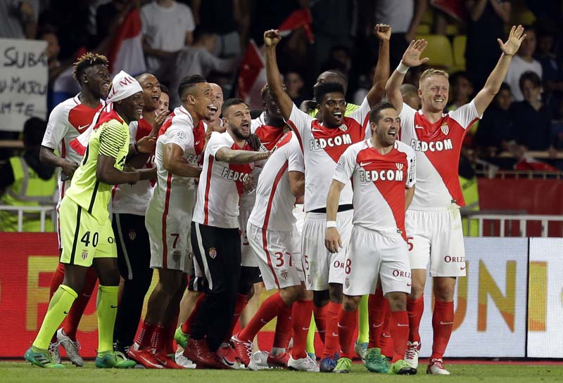 Monaco players celebrate their goal during the League One soccer match Monaco against Saint Etienne, at the Louis II stadium in Monaco, on Wednesday, May 17, 2017. Photo : AP