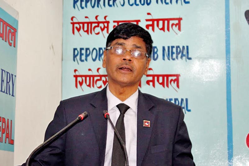 Chief Election Commissioner Dr. Ayodhee Prasad Yadav speaks at a programme organised by the Reporters Club Nepal in Kathmandu, on Wednesday, May 17, 2017. Courtesy: Reporters Club