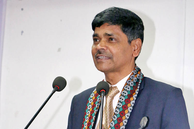 Chief Election Commissioner Ayodhee Prasad Yadav speaks at a programme in Kathmandu, on Friday, May 12, 2017. Photo: RSS