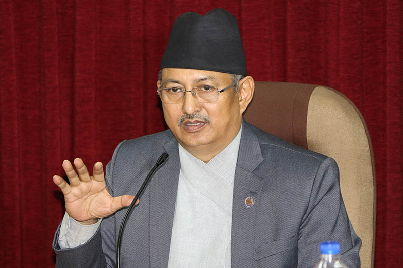 Minister for Defence Bal Krishna Khand brief media about the Ministry's work progress report in Kathmandu, on Wednesday, May 31, 2017. Photo: RSS