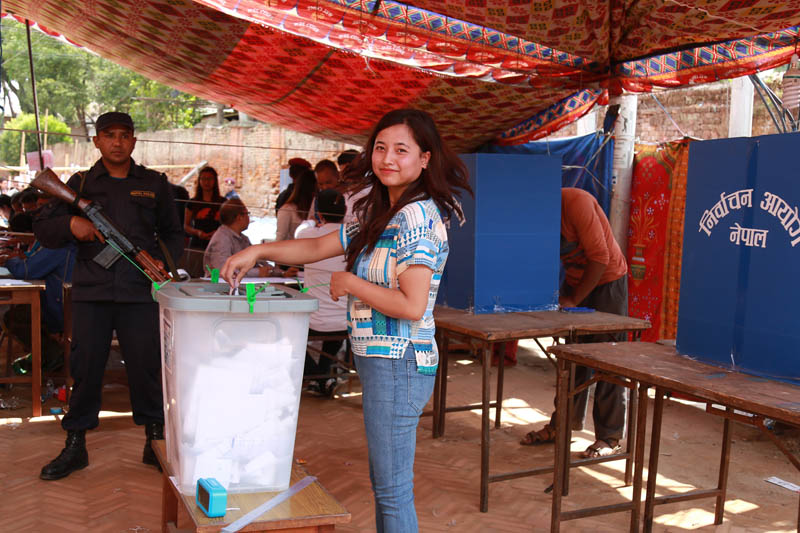 A voter pose for a portrait as she cast her vote during local polls in Bhaktapur, on Sunday, May 14, 2017. Photo: RSS