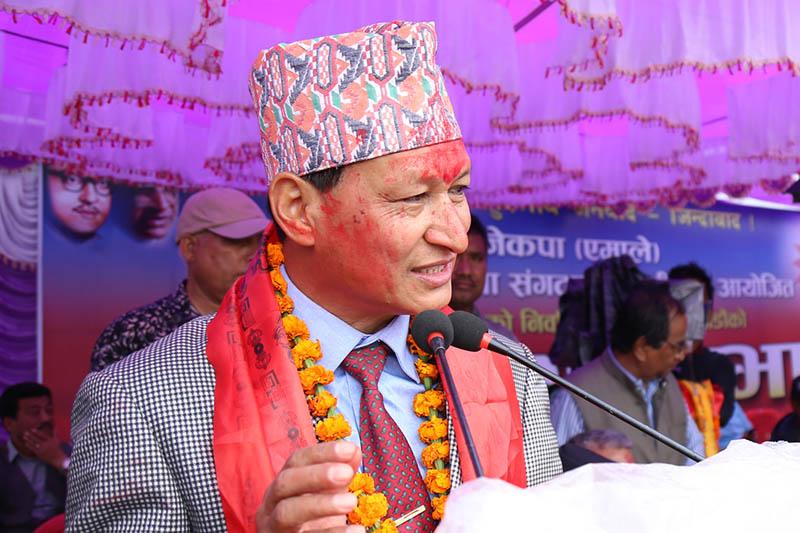 Newly elected KMC mayor Bidya Sundar Shakya addresses a victory rally organised by CPN-UML in Kathmandu, on Tuesday, May 30, 2017. Photo: RSS