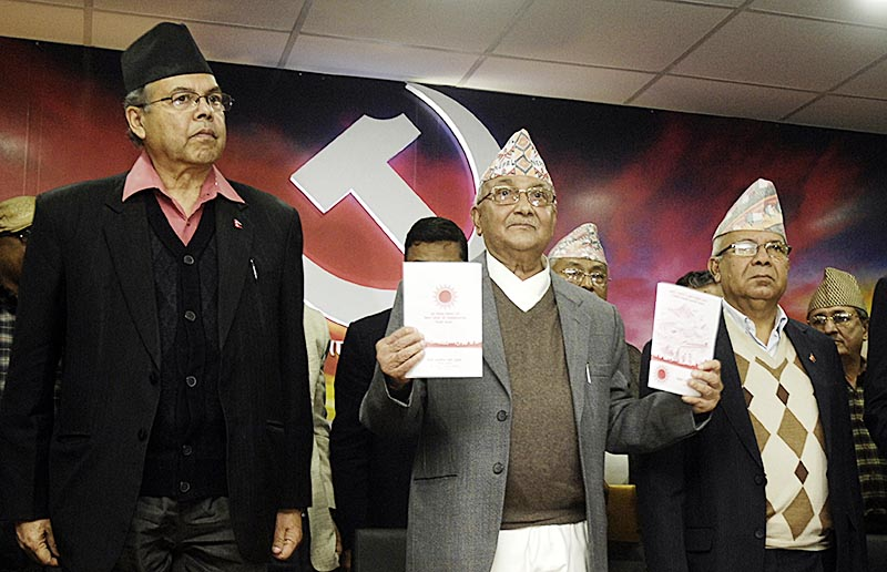 Chairman of CPN-UML KP Sharma Oli launching the election manifesto for local level elections, in Kathmandu, on Monday, May 1, 2017. Photo: THT