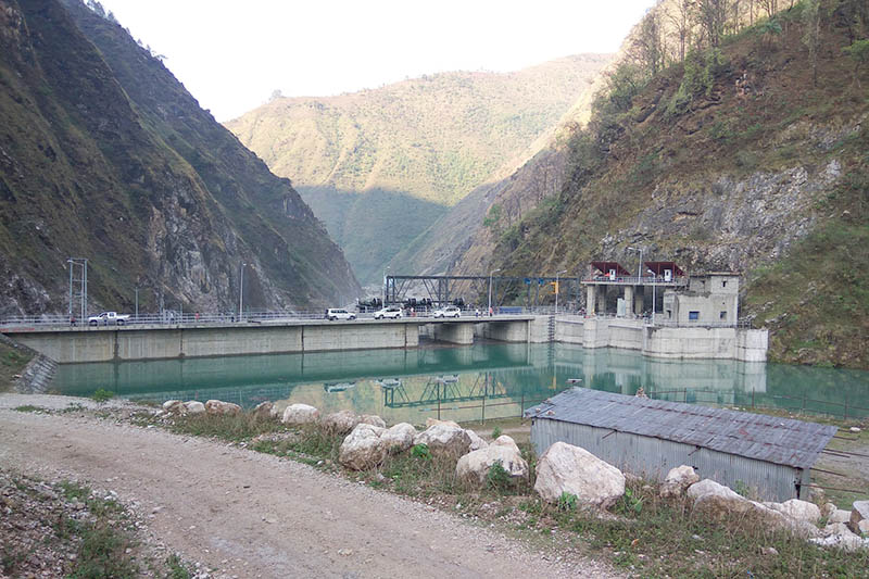 A view of Chameliya hydro project's dam at Saleshikhar Municipality-1 in Darchula district as captured on Tuesday, May 23, 2017. Photo: RSS