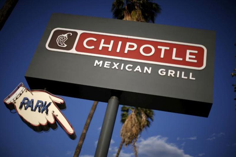 Signage for a Chipotle Mexican Grill is seen in Los Angeles, California, United States, on April 25, 2016.  Photo: Reuters