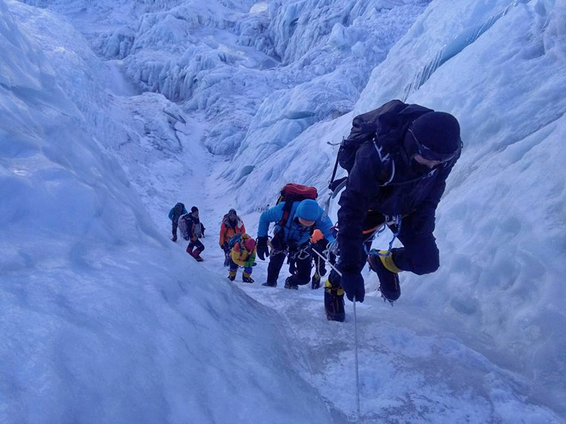 In this undated photo, climbers head towards the higher camp above icefall section on Mt Everest. Photo: Mingma Tenzi Sherpa
