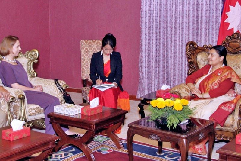 The Colombian Ambassador to Nepal Monika Lanzetta calls on President Bidya Devi Bhandari at Sheetal Niwas in Kathmandu, on Friday, May 26, 2017. Courtesy: President's Office