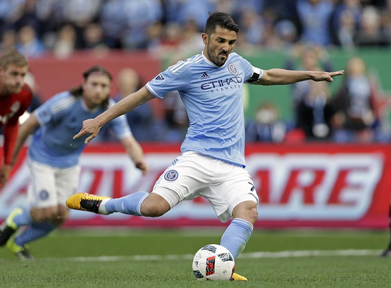 FILE - New York City FC forward David Villa scores a penalty kick goal against Toronto FC during the first half of an MLS soccer game at Yankee Stadium in New York, on March 13, 2016. Photo: AP
