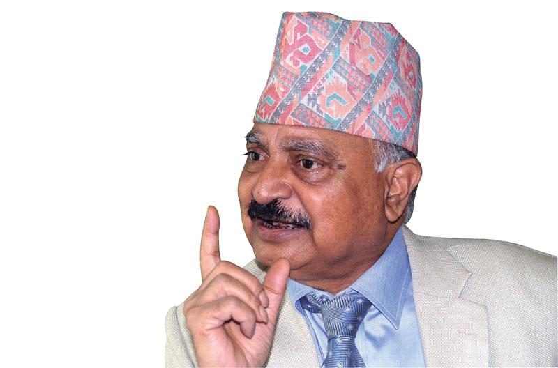 Interview with Chairman of the Nepal Telecommunications Authority Digambar Jha in Kathmandu on May 14, 2017. Photo: Bal Krishna Thapa/ THT