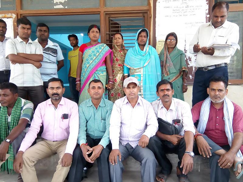 Temporary teachers staging a sit-in protest at District Education Office, Gaur, Rautahat, on Wednesday, May 3, 2017. Photo: THT