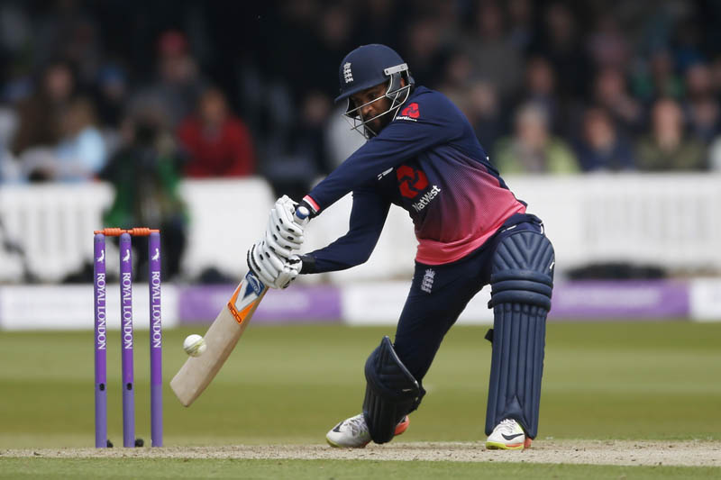England's Adil Rashid shapes to play a square drive against Ireland during One-day international cricket match at Bristol, on Sunday, May 7, 2017. Photo: Reuters