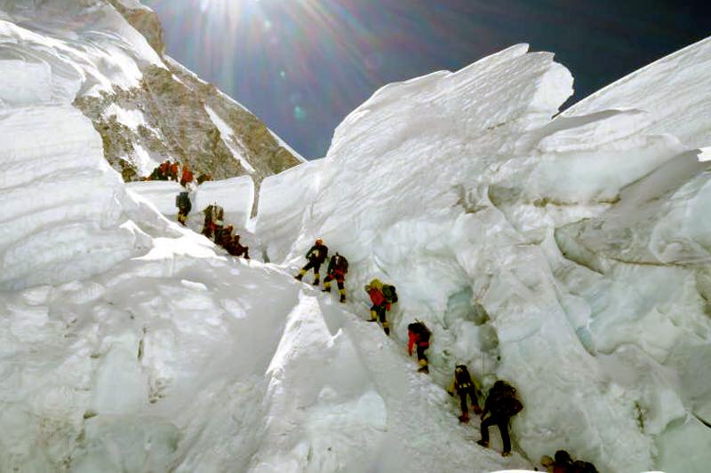 Mount Everest climbers practicing above Khumbu Region, on Thursday, May 4, 2017. Photo Courtesy: Abiral Rai