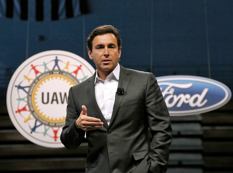 FILE - In this July 23, 2015, file photo, Ford Motor Company President and CEO Mark Fields speaks during a ceremony to mark the opening of contract negotiations with the United Auto Workers in Detroit. Photo: AP