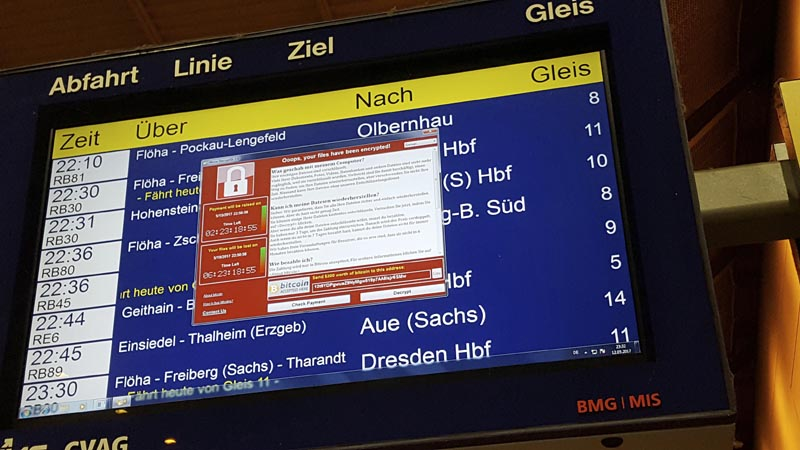 In this May 12, 2017 photo, a display panel with an error can be seen at the main railway station in Chemnitz, Germany. Photo: AP