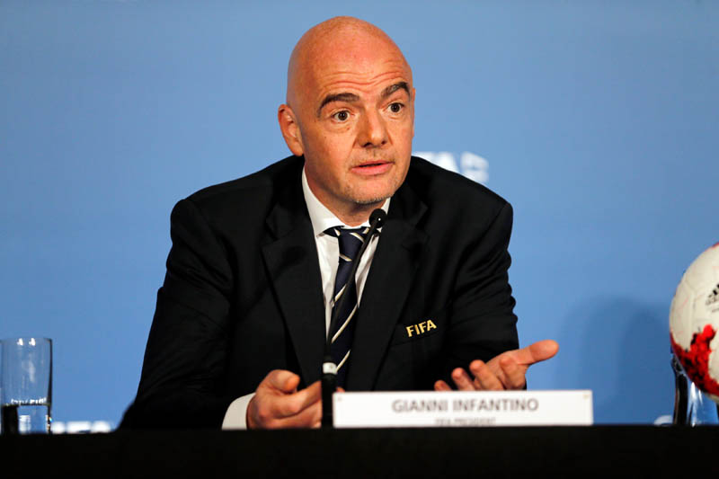 FIFA President Gianni Infantino speaks at press conference after the 67th FIFA Congress in Manama, Bahrain May 11, 2017. Photo: Reuters