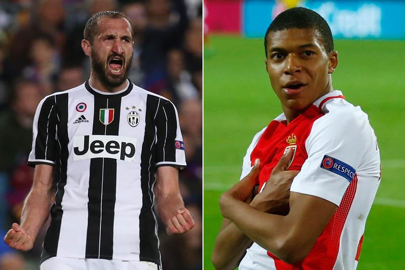 Juventus' Giorgio Chiellini (left) and Monaco's Kylian Mbappe-Lottin. Photos: Reuters