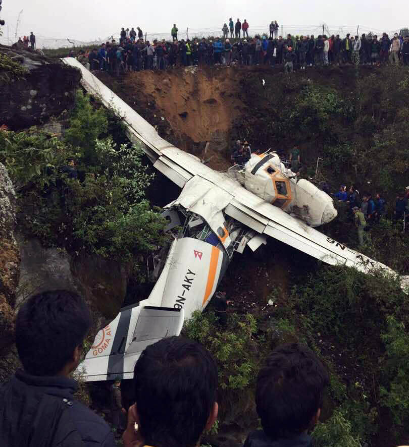 Wreckage of crashed Goma Air flight in Lukla, as captured on Saturday,May 27, 2017.Photo Courtesy: Pasang Sherpa