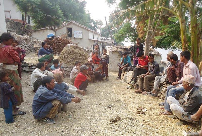 Freed Haliyas discussing their problems in Pipaldangi of Badhu Rural Municipality,  Bajura, on Tuesday, May 9, 2017. Photo: THT