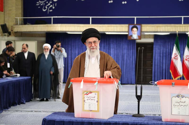 Iran's Supreme Leader Ayatollah Ali Khamenei casts his vote during the presidential election in Tehran, Iran, on May 19, 2017. Photo: Leader.ir/Handout via Reuters