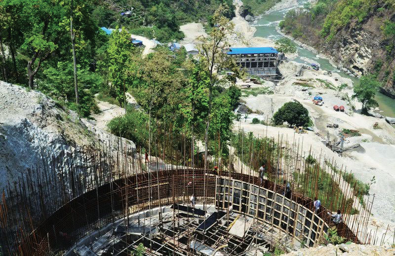 A view of the under-construction Kabeli B(I) Hydropower Project on the border between Panchthar and Taplejung districts, on Saturday, May 06, 2017. Photo: THT