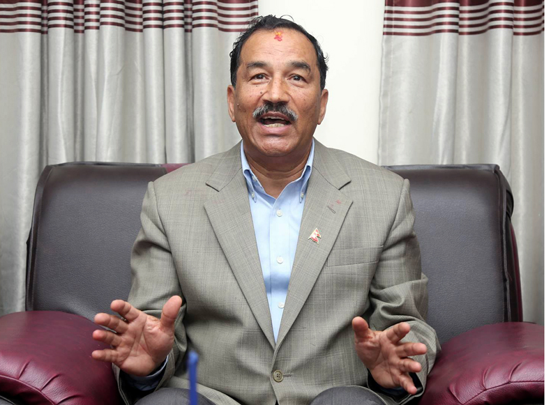 Rastriya Prajatantra Party Chairman Kamal Thapa discusses about the current political scenario in a meeting organised at the party's office in Dhumbarahi,on Monday, May 01, 2017. Photo: RSS