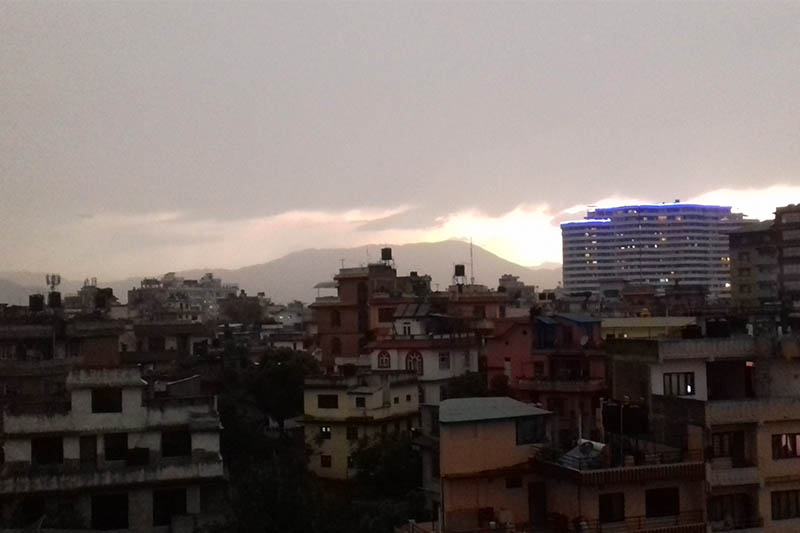 A view of Kathmandu as dusk looms on, captured from Anamnagar, on Thursday, May 4, 2017. Photo: Mausam Shah Nepali