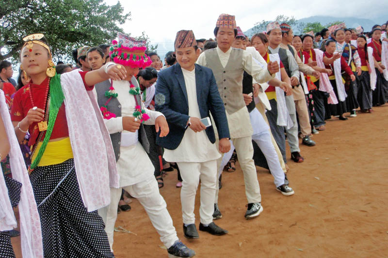 Members of Kirat Community clad in their traditional attires perfrom Sili dance at a tundihel in Bhojpur, on Sunday, May 28, 2017. Photo: RSS