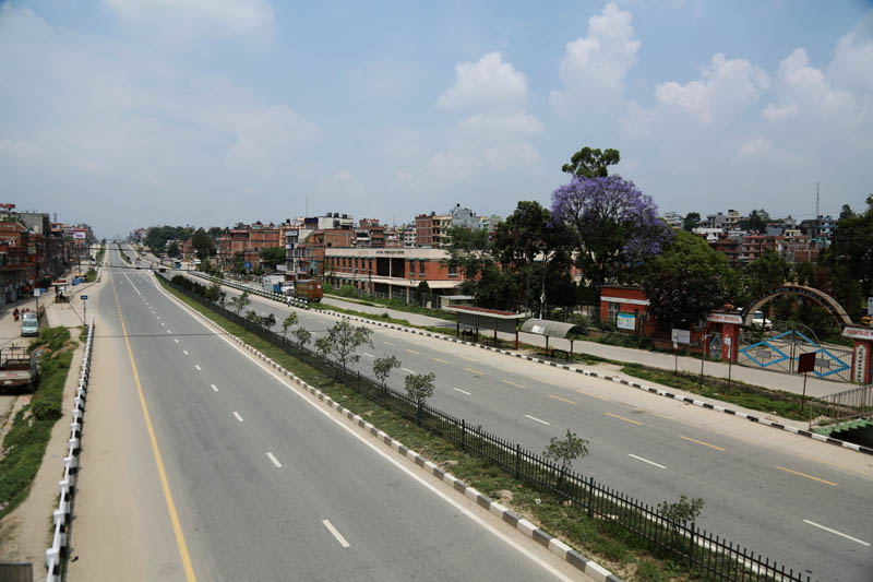 The Koteshwor-Suryabinaya road section wears a deserted look during the local polls in Kathmandu Valley, on Sunday, May 14, 2017. Photo: RSS