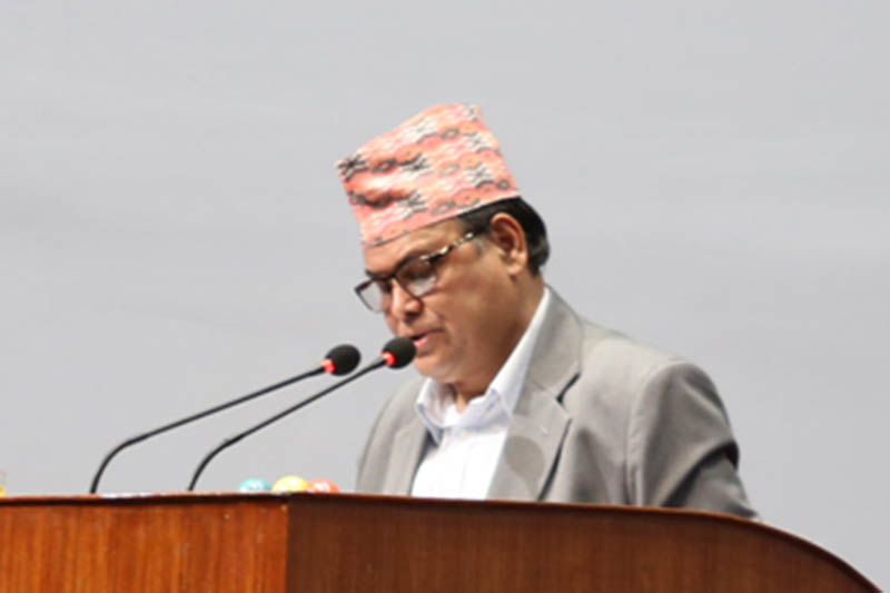 FM Mahara presents the annual estimate of income and expenditure for the upcoming fiscal year 2017/18 at the Legislature-Parliament on Monday, May 29, 2017. Photo: RSS