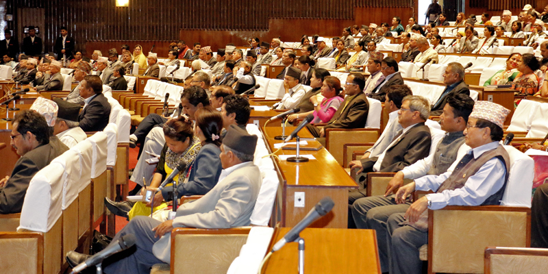 Lawmakers attend the third session of the Legislature-Parliament meeting in Kathmandu, on Monday, May 22, 2017. Photo: RSS