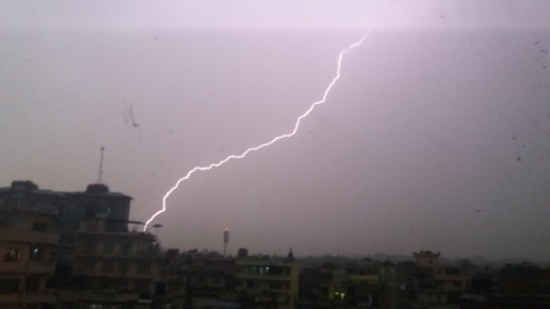 A thunder bolt as seen over the Kathmandu sky from Anamnagar, on Thursday, May 4, 2017. Photo: Monica Lohani