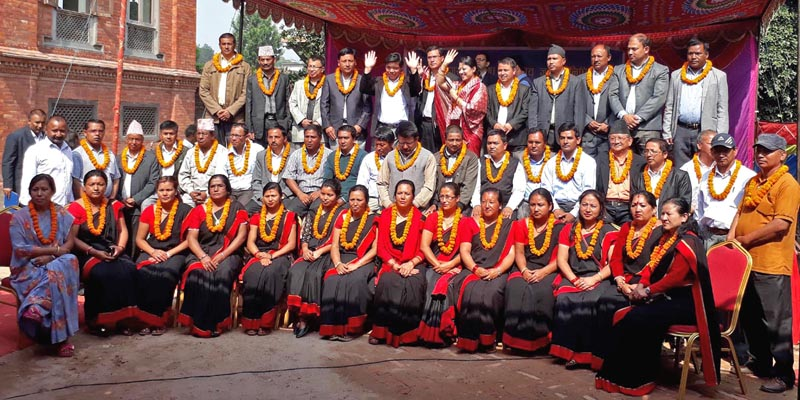 Local bodies representatives elected from various political parties pose for a group photo after taking oath in Bhaktapur Municipality, on Sunday, May 21, 2017. Photo: RSS