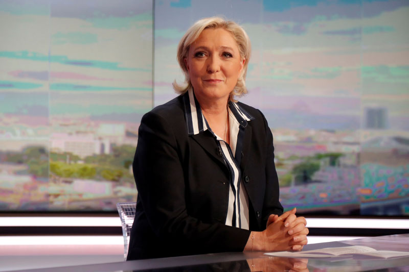 Marine Le Pen, French National Front (FN) candidate for 2017 presidential election, poses prior to an interview on the prime time evening news broadcast of French TV channel TF1, in Boulogne-Billancourt, near Paris, France, on May 2, 2017. Photo: Reuters