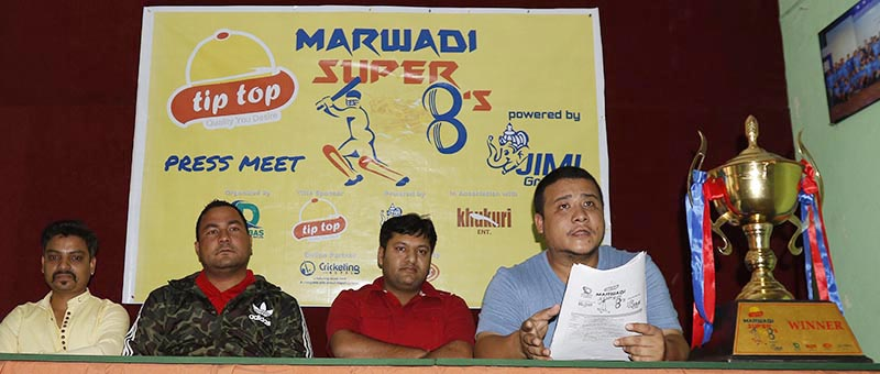 Organisers and sponsors of the Tip Top Marwadi Super Eights Cricket Tournament at a press conference in nKathmandu on Tuesday, May 16, 2017. Photo: THT