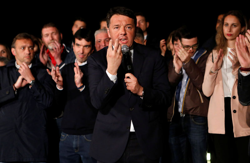 Italy's former Prime Minister Matteo Renzi speaks at the Democratic Party (PD) headquarters in Rome, Italy, on April 30, 2017. Photo: Reuters