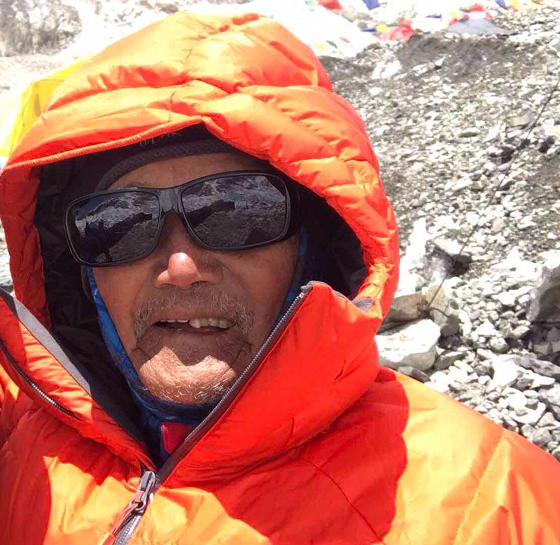 Min Bahadur Sherchan poses for photograph at the Everest base camp in this recent photograph. Courtesy: Shiva Bahadur Sapkota